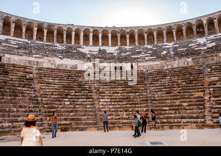 Antalya, TURKEY - June 16, 2018: Located in Antalya, Turkey. Aspendos theater is being visited by tourists - Stock Photo