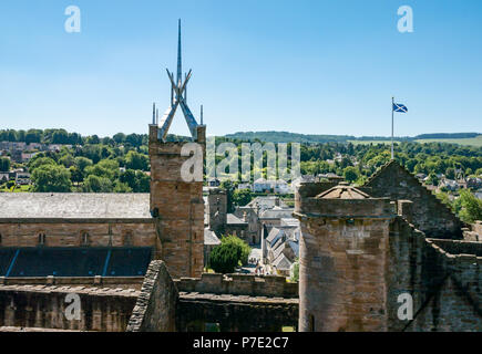 View of square tower with modern metal steeple, St Michael's Parish Church from top of Linlithgow Palace, West Lothian, Scotland, UK - Stock Photo