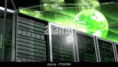 Computer servers and technology information interface - Stock Photo