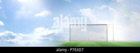 Football goal pitch with transition - Stock Photo