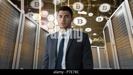 Man with computer servers and bitcoin technology information interface - Stock Photo