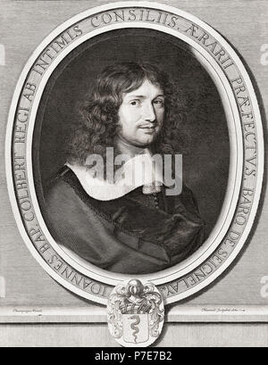 Jean Baptiste Colbert, 1619-1683.  French controller general of finance from 1665 and secretary of state for the navy from1668 under Louis XIV.  After a contemporary engraving. - Stock Photo