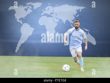 Soccer player on grass with world map - Stock Photo
