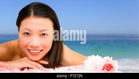Happy spa woman relaxed with sea - Stock Photo