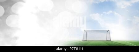 Football goal on pitch with transition - Stock Photo