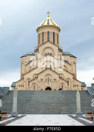 The Holy Trinity Cathedral, commonly known as Sameba, is the main cathedral of the Georgian Orthodox Church located in Tbilisi, the capital of Georgia - Stock Photo