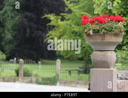 A flower arrangement on a old stone column in front of the castle park - Stock Photo