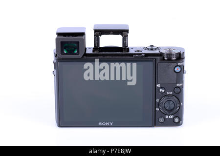 Advanced compact camera Sony DSC-RX100 M5 isolated on white. One of the best high-end compact cameras. - Stock Photo