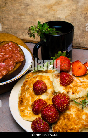 cottage cheese breakfast - Stock Photo