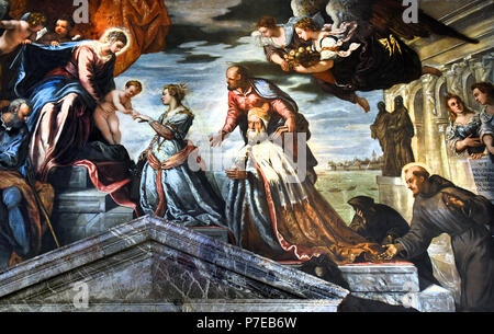 The Mystic Marriage of St. Catherine assisted by Doge Francesco Donà. Tintoretto ( Jacopo Comin - Jacopo Robusti ) 1518 – 1594  The Doge's Palace ( Palazzo Ducale ) Venice, Italy. - Stock Photo