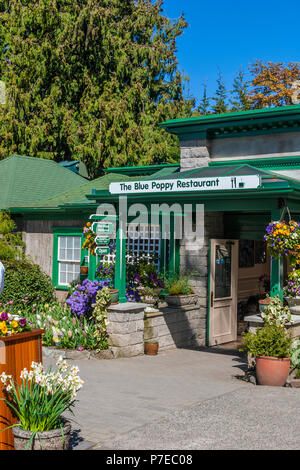 The Blue Poppy Restaurant at the Butchart Gardens, Victoria Stock ...