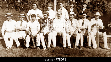 A village cricket team, early 1900s - Stock Photo