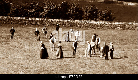 A village cricket match, early 1900s - Stock Photo