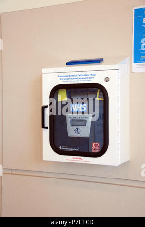 The Emergency Defibrillator mounted on the passenger lounge wall at Doncaster Sheffield Airport, Robin Hood Airport Doncaster Sheffield, - Stock Photo