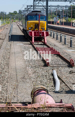 class 57 locomotive, rugby railway station, warwickshie, england, uk. - Stock Photo