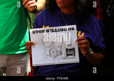 NEW YORK, NY - JUNE 21: Rise and Resist activists gathered in front of the Harvard Club to protest EPA Administrator Scott Pruit who was about to give - Stock Photo