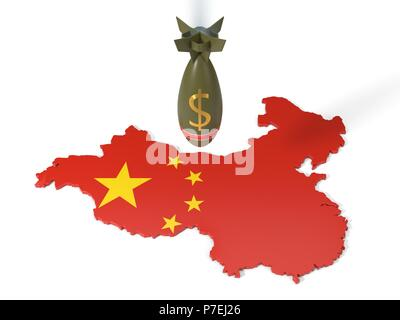 economy and trade wars concept with dollar currency bomb and china country map. 3d illustration - Stock Photo