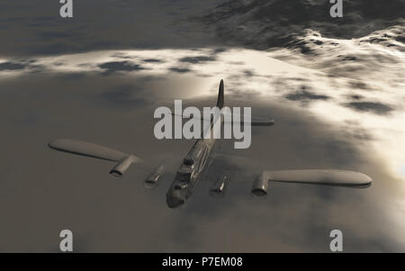 The Wreckage Of A B-17 Bomber , Lying In A Snow & Ice  Landscape. - Stock Photo