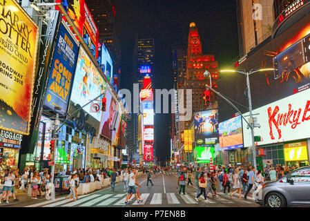 New York, USA- September 06, 2017 : Night view of Times Square-central and main square of New York. Street, cars, people and tourists on it. - Stock Photo