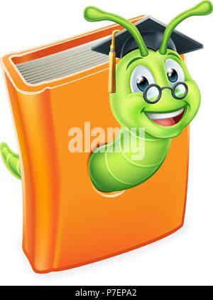 Graduate Worm Bookworm Caterpillar in Book - Stock Photo