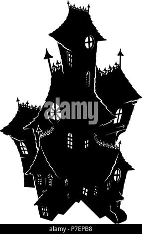 Halloween Haunted House Spooky Silhouette - Stock Photo