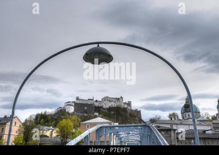 Mozartstadt Salzburg mit Getreidegasse Domplatz und Festung Hohensalzburg - Stock Photo