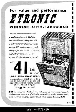 1950 British advertisement for the Etronic Windsor Auto-Radiogram. - Stock Photo