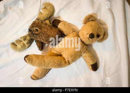 Well-worn pet toys sharing time together on a spare bed - Stock Photo