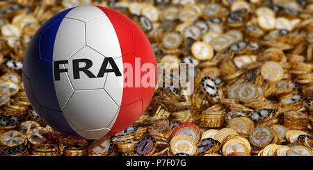 Soccer ball in France national colors on golden dollar coins - 3D Rendering