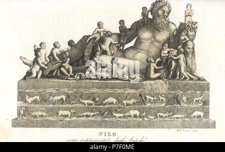 Classical allegorical statue of the River Nile, with old man and cornucopia, above images of crocodiles, hippopotami, etc. Handcoloured copperplate engraving by Andrea Bernieri from Giulio Ferrrario's Costumes Antique and Modern of All Peoples (Il Costume Antico e Moderno di Tutti i Popoli), Florence, 1843. - Stock Photo