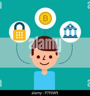 man cartoon avatar bank bitcoin cyber security - Stock Photo