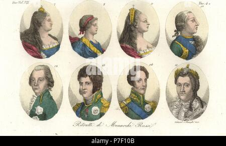 Portraits of Russian Tsars, House of Romanov: Anna 7, Ivan VI 8, Elizabeth 9, Peter III 10, Catherine II the Great 11, Paul I 12, Alexander I 13, and Nicholas I 14. Handcoloured copperplate engraving by Giarre and Stanghi from Giulio Ferrario's Costumes Ancient and Modern of the Peoples of the World, Florence, 1847. - Stock Photo