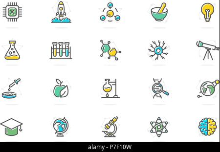 Set of vector science and research colored line icons. Chip, rocket, atom, ion, lamp, tube, bulb, neuron, brain, dna, molecule, lab, space, microscope, telescope and more. - Stock Photo