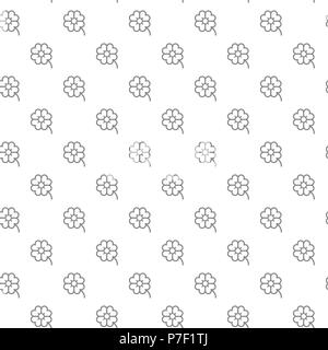 Simple four leaf clover seamless pattern with various icons and symbols on white background flat vector illustration - Stock Photo
