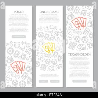 Set of vector gambling and casino vertical banners with icon pattern. Vector illustration - Stock Photo
