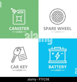 Set of vector car service and auto repair logo or insignia, emblems, labels and badge. Vector line style - Stock Photo