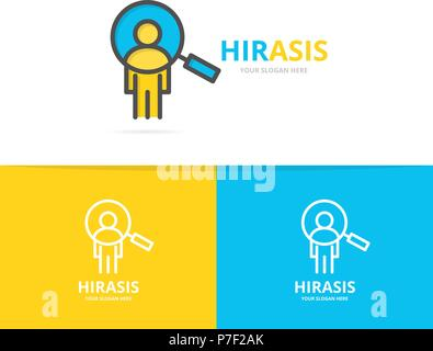 Simple man with magnifier, search employees, SEO logo design template. Symbol and sign vector illustration - Stock Photo