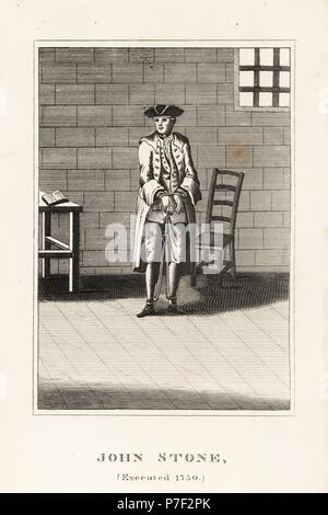 John Stone, executed in 1750 for arson committed for his employer John Collington. Copperplate engraving from John Caulfield's Portraits, Memoirs and Characters of Remarkable Persons, Young, London, 1819. - Stock Photo