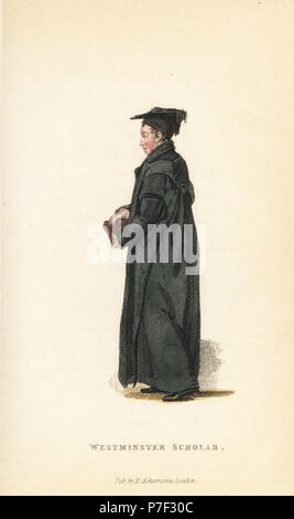 Westminster Scholar at Christ's Church, Oxford University, early 19th century. Handcoloured copperplate engraving from William Henry Pyne's The World in Miniature: England, Scotland and Ireland, Ackermann, 1827. - Stock Photo