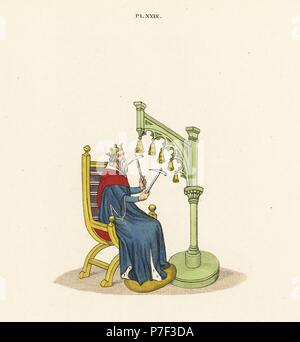 King David playing handbells with hammers from a 14th century manuscript of his psalms. Handcoloured lithograph by Joseph Strutt from his own Sports and Pastimes of the People of England, Chatto and Windus, London, 1876. - Stock Photo