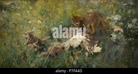 Bruno Liljefors (1860-1939). Swedish painter. A Fox Family, 1886. National Museum. Stockholm. Sweden. - Stock Photo