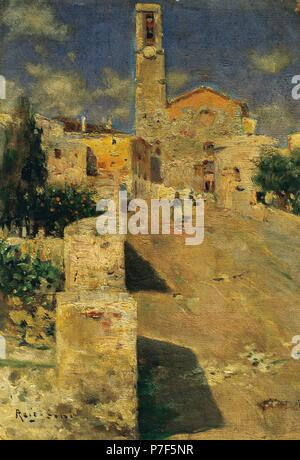 Badalona, street of a village (carrer del Temple), by Joan Roig Soler (1852-1909). Catalan painter. Oil on canvas (37 x 25,3 cm). Catalonia. Luminist school of Sitges. Diocesan Museum of Barcelona, Catalonia, Spain. - Stock Photo