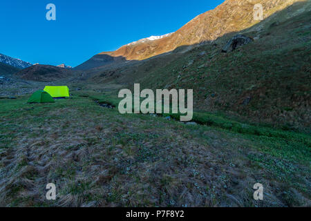 Camping in Chitkul Village Trek, Himachal Pradesh - Stock Photo