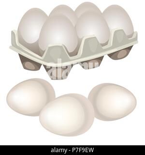 Chicken eggs in a cardboard box isolated on white background. Vector cartoon close-up illustration. - Stock Photo