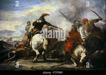 Jacques Courtois called Il Borgognone (1621-1675). French painter. Cavalry Encounter, second half of the 17th century. The State Hermitage Museum. Saint Petersburg. Russia. - Stock Photo