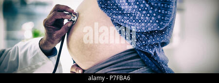 Cropped image of doctor examining pregnant woman - Stock Photo