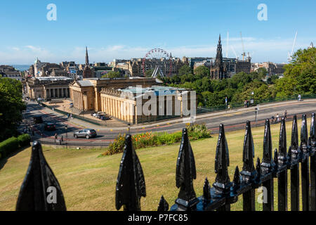 View of National Gallery of Scotland from The Mound in Edinburgh, Scotland, UK - Stock Photo