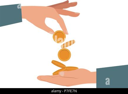 Hands giving coins - Stock Photo