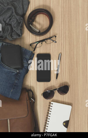 Men's casual outfits and accessories. Fashion flat lay. - Stock Photo