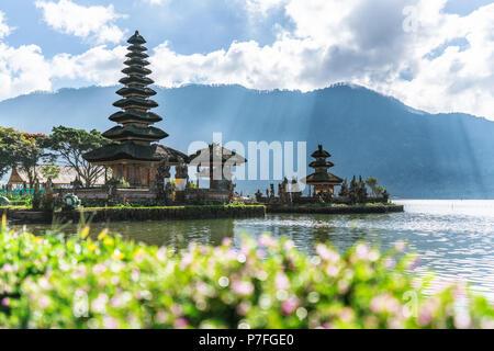 Ulun Danu Beratan Temple, famous travel destination in Bali, Indonesia - Stock Photo